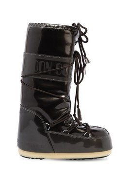 FAUX PATENT LEATHER SNOW BOOTS