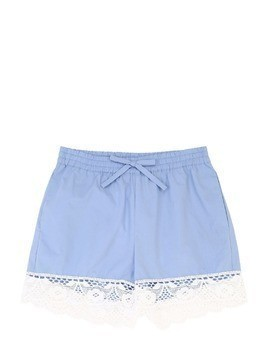 COTTON POPLIN SHORTS W/LACE