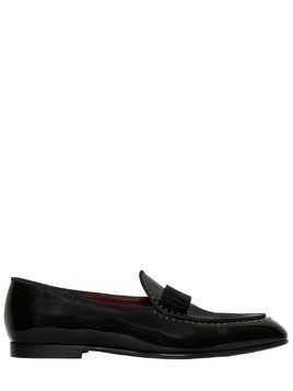 BOW MICRO STUDDED PATENT LEATHER LOAFERS