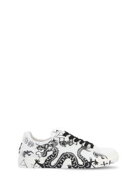 DRAGON PRINTED LEATHER SNEAKERS