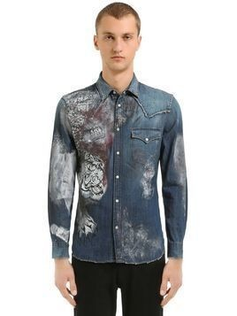 PAINTED COTTON DENIM WESTERN SHIRT