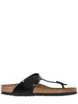 GIZEH PATENT LEATHER THONG SANDALS