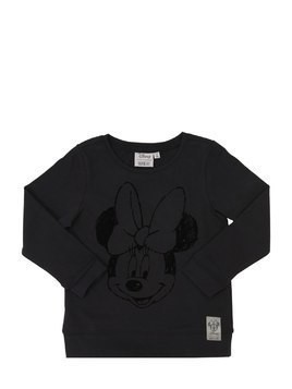 MINNIE FLOCKED COTTON JERSEY T-SHIRT