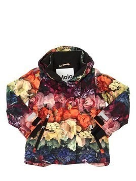 FLOWERS PRINT NYLON SKI DOWN JACKET