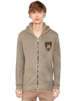 HOODED COTTON JERSEY SWEATSHIRT W/ PATCH