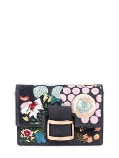 MICRO VIV RAFFIA FLOWERS DENIM CLUTCH
