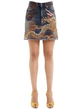 DRAGON PATCHES COTTON DENIM MINI SKIRT