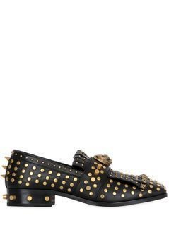 STUDDED&TIGER LEATHER FRINGED LOAFERS