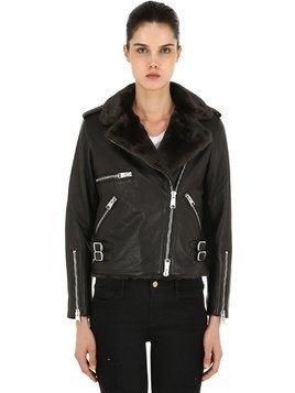 BALFERN LEATHER BIKER JACKET W/ FAUX FUR