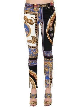 PRINTED COTTON DENIM JEANS