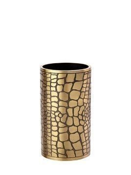 EMBOSSED BRASS VASE / PEN HOLDER