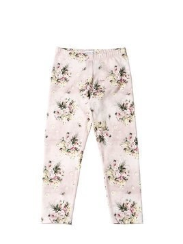 FLORAL PRINTED COTTON JERSEY LEGGINGS