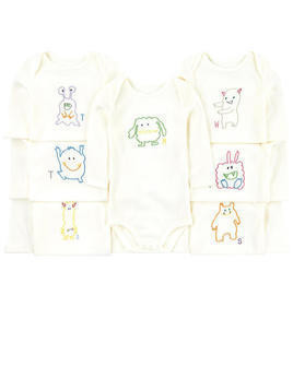 Pack of 7 embroidered organic cotton onesies