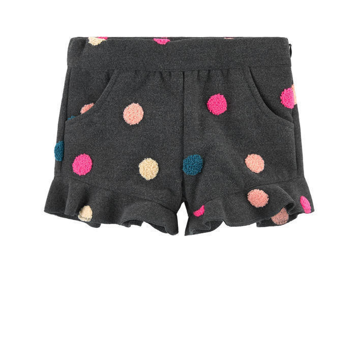 Spot print woollen cloth effect shorts