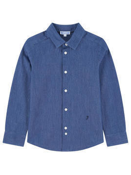 Stone-washed blue chambray shirt