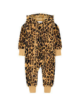 Leopard organic cotton playsuit with a hood