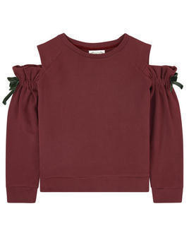Sweatshirt with bare shoulders