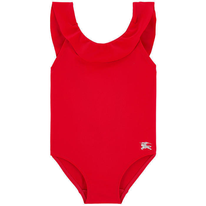 One-piece swimsuit with flounces
