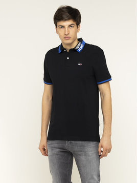 Tommy Jeans Polo Branded Collar DM0DM07451 Czarny Regular Fit