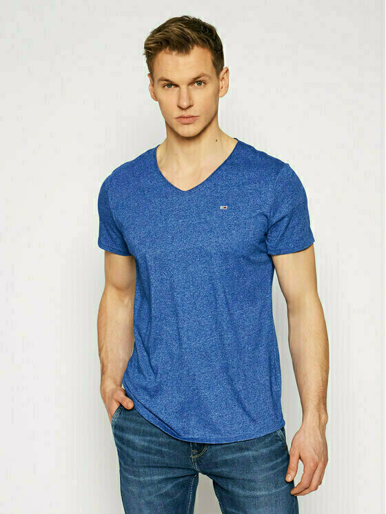 Tommy Jeans T-Shirt Jaspe DM0DM09587 Niebieski Slim Fit