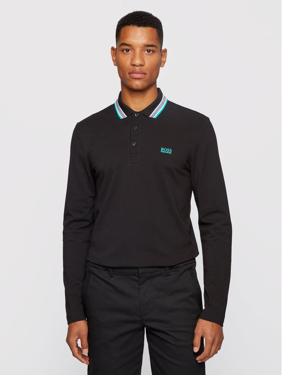 Boss Polo Plisy 50272945 Czarny Regular Fit