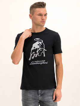 Lamborghini T-Shirt B3XUB7S8 Czarny Regular Fit
