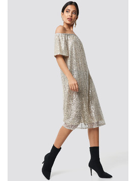 Ruched Off Shoulder Sequins Dress