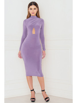 Long Sleeve Keyhole Open Front Midi Dress