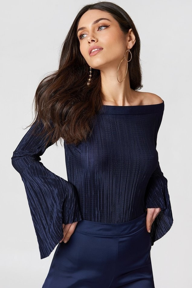 Top Pleated Off Shoulder