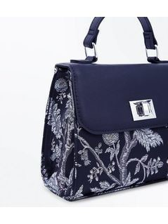 Navy Baroque Embroidered Cross Body Bag