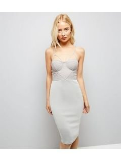 AX Paris Pale Grey Cross Strap Midi Dress