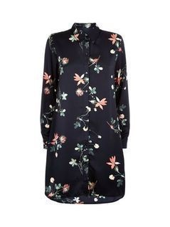 Apricot Black Tropical Floral Print Shirt Dress