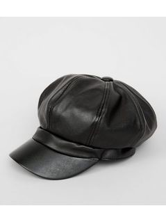 Black Leather Look Baker Boy Hat