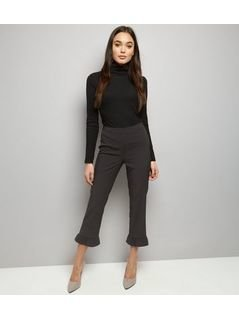 Black Frill Hem Slim Leg Cropped Trousers
