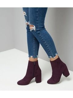 Purple Suedette Block Heeled Boots