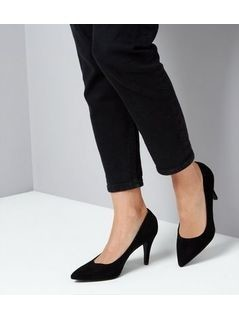 Wide Fit Black Suedette Mid Heel Court Shoe