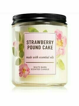 Bath & Body Works Strawberry Pound Cake świeczka zapachowa 198 g