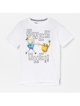 Reserved - T-shirt Adventure Time x Minecraft - Biały