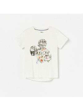 Reserved - T-shirt Disney - Kremowy