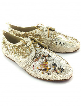 Buty Forget me not Gold Sequins