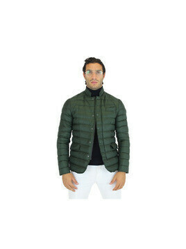 Quilted down jacket with shirt collar