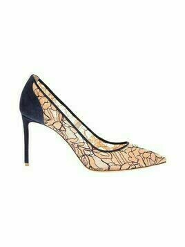 Pointed-toe lace and suede pumps 85