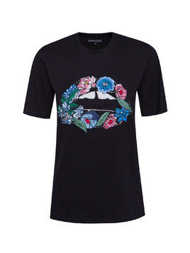 T-shirt MARKUS LUPFER EMBROIDERED FLOWER LIP