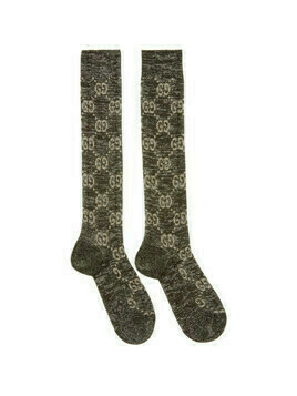 Gucci Black and Silver Crystal GG Socks