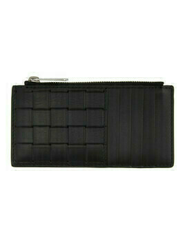 Bottega Veneta Black Printed Grid Card Holder