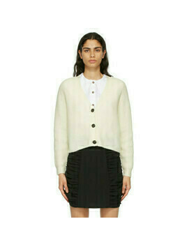 GANNI Off-White Alpaca Soft Cardigan