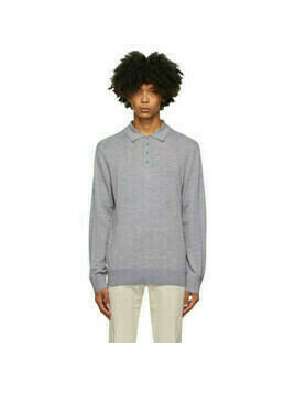 Z Zegna Grey Wool Knit Polo