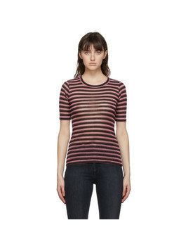 rag and bone Pink Metallic Stripe T-Shirt