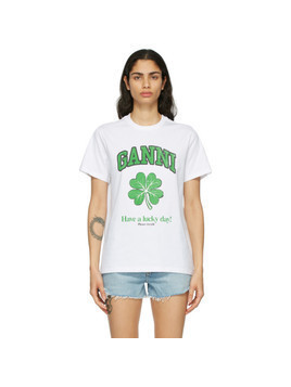 GANNI White Cotton Lucky Day T-Shirt