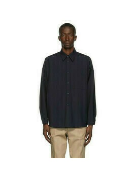 Marni Navy Tropical Wool Shirt
